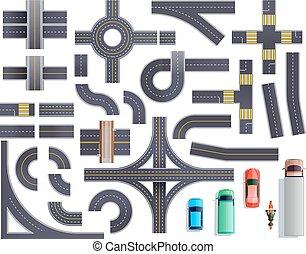 Road Parts Vehicles Set