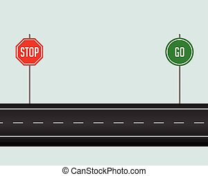 road pathway with stop and go sign