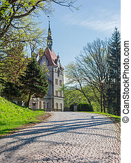 Road paved with cobbles leading to the castle