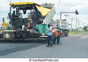 Road paving construction