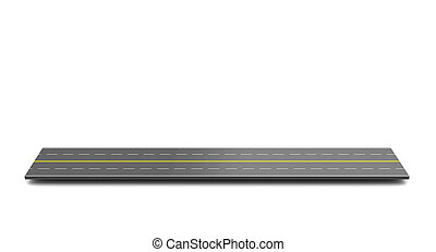 road piece - 3d illustration of highway piece over white...