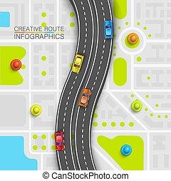 Road point information art map, Map location background, Road transportation point, Vector illustration