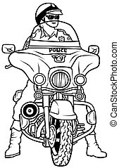 Road Police, Hand Drawn illustration