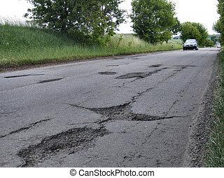 Road potholes - Potholes in a roadway in Poland.