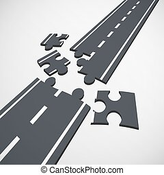 Road puzzle. Stock illustration.