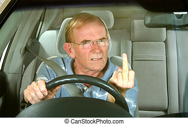 Middle aged man gives rude sign in road rage incident.