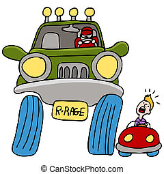 An image of a man driving a large truck angry at a man in a small car.
