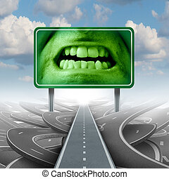 Road Rage - Road rage concept with a group of streets or...