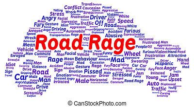 Road rage word cloud shape