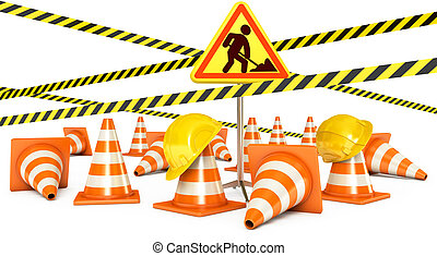 Road Reconstruction. Traffic cones. Road sign. Caution tape...