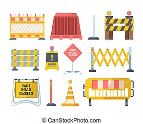 Road repair barriers set. Safety barricade warning at stops and streets symbol safe reconstruction striped coloring of main planned works notification no passage. Signal vector cartoon.