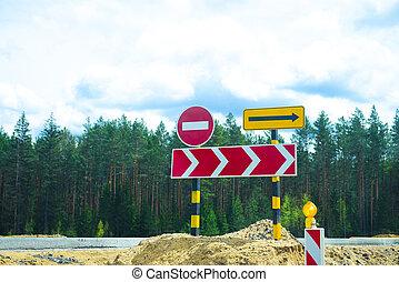 Road Repair Bypass Road Sign.