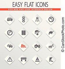 Road repair icon set