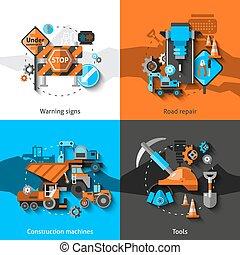 Road Repair Icons - Road repair design concept set with ...