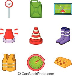 Road repair icons set, cartoon style