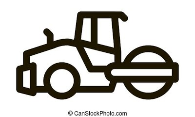 road repair pavering tractor Icon Animation. black road repair pavering tractor animated icon on white background