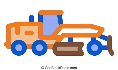 road repair tractor Icon Animation. color road repair tractor animated icon on white background