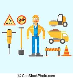 Road Repair Work. Vector Illustration