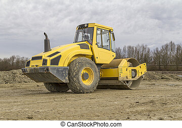 road roller at a construction site