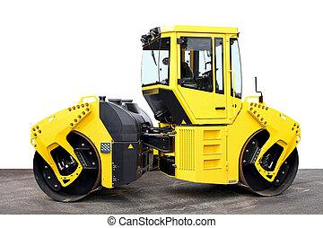 Road roller - Big yellow road roller heavy construction ...