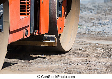 Road roller compactor at asphalt road repairing - Close-up ...