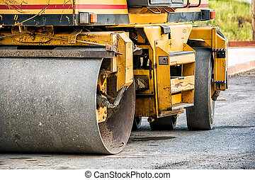 Road roller compactor - Close-up image of roller compactor ...