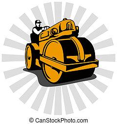 Road Roller Compactor - Illustration of a road roller ...