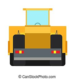 Road roller construction equipment vector icon machine asphalt. Heavy industry highway repair yellow flat truck back view