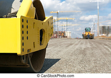 Road roller during road works