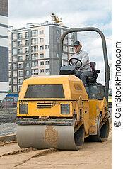 Road roller during road works