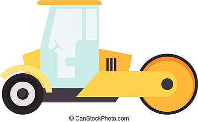 Road roller icon, flat style