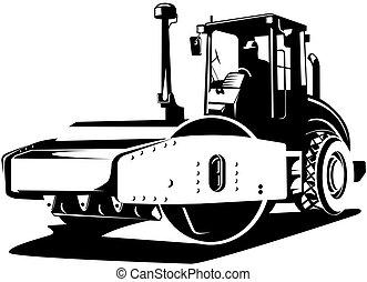 Road roller - Illustration on construction equipments