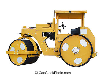 Road roller isolated on white background with clipping path