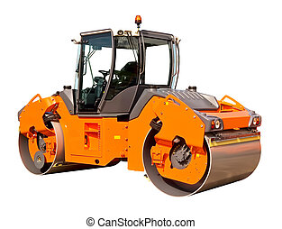 Road roller - New road roller on a white background
