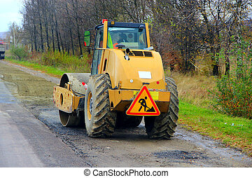 road-roller on the road