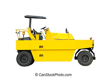 Road roller on white background