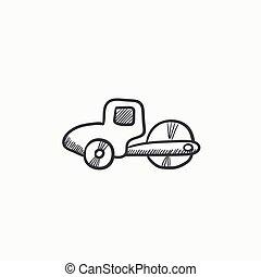 Road roller sketch icon.