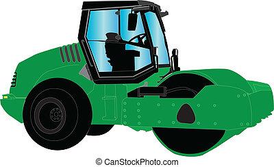 road roller - vector