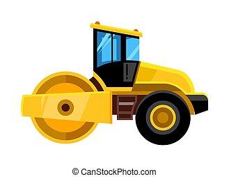 road roller. yellow construction asphalt roller truck transportation for builders vector vehicle