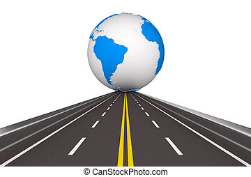 Road round globe on white background. Isolated 3D image