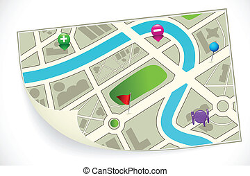 Road Route Map - illustration of road route map with gps...