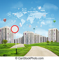 Buildings  green    hills     road world map  hexagons and flying letters blue sky on background
