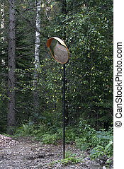 Road safety mirrors on the edge of the road in the forest.