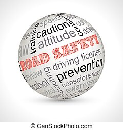Road safety theme sphere with keywords full vector