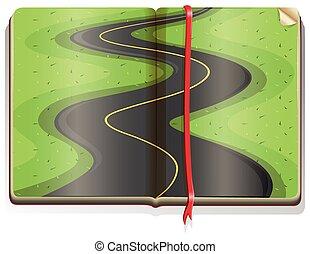 Road scene in book