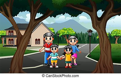 Road scene with happy family illustration
