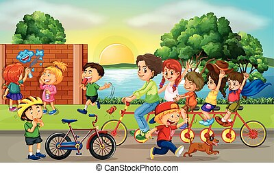 Road scene with kids and family riding bikes illustration