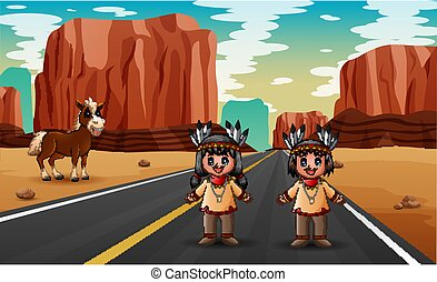 Road scene with two boy and girl in Native American indian illustration