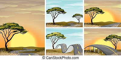 Road scenes in savanna field at sunset