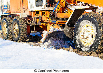 Road scraper %u0441leaning streets